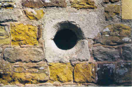 Hole in wall of St Luke's church